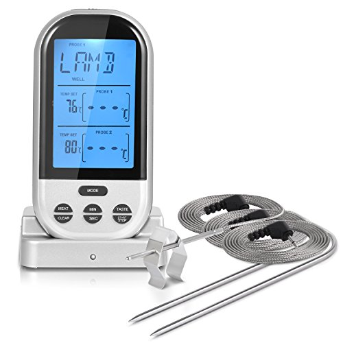 iHomy Wireless Remote Digital Cooking Food Meat Thermometer Instant Read with Oven Probe for Oven and Dual Probes for Kitchen Smoker Grill BBQ