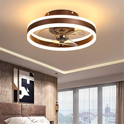 YAOXI - Ventilador de techo con mando a distancia reversible y moderno LED para salón, silencioso, 3 aspas de ventilador de techo, color marrón