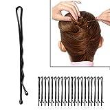 48 pcs 40mm Noir Ondulés U Peigne Poignées Bobby Pins Cheveux Barrette Clip Minzhi