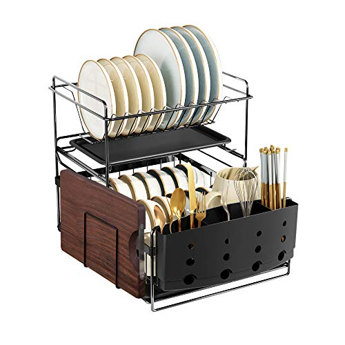 MOUKABAL Dish Drainer Dish Rack and Drainboard Set Detachable Dish Drying Rack with Utensil Holder Water Trays Cutting Board Rack (Black Version1.0)