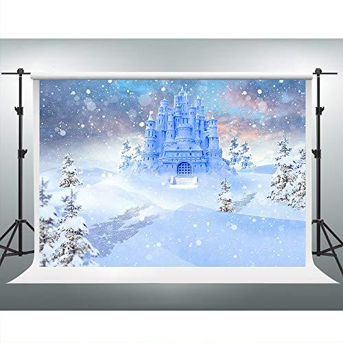 7x5ft Castle Backdrop White Snow Frozen Photography Background Birthday Photo Shoot Props Party Event Portrait Backdrop VVM GYVV064