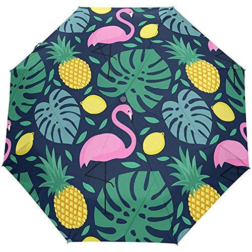 Tropischer Ananas-Flamingo-Palmblatt-Mongo-Selbstoffener Regenschirm Sonnenregen-Regenschirm Anti-UV, der kompakten automatischen Regenschirm faltet
