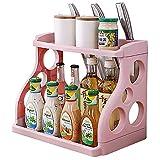 Qisiewell Portaspezie Pratico portaspezie per armadio da cucina e superficie di lavoro per ordine in cucina Allungabile in plastica PP su 2 livelli Rosa