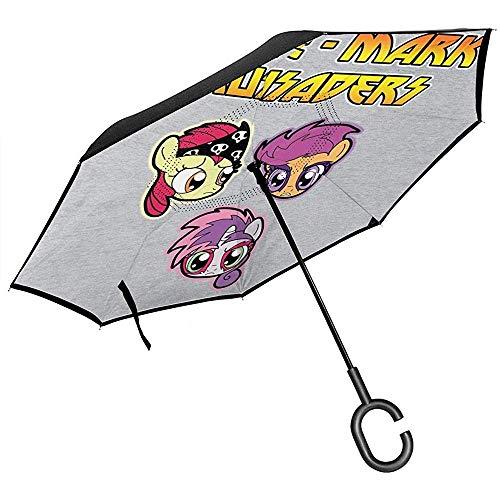 My Little Pony Cutie Mark kruisvaarders omgekeerde paraplu voor auto vouwen ondersteboven C vorm handen lichtgewicht winddicht ideaal cadeau