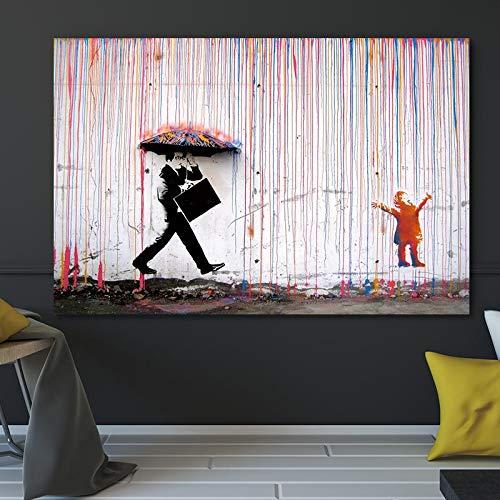ganlanshu Pintura sin Marco Graffiti Abstracto Arte Callejero Lluvia Colorida Pintura al óleo sobre Lienzo Carteles e Impresiones popularesZGQ3334 70X105cm