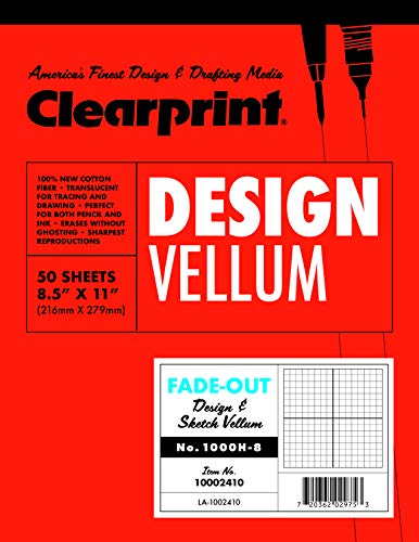 Clearprint 1000H Design Vellum Pad with Printed Fade-Out 8x8 Grid, 16 lb, 100% Cotton, 8-1/2 x 11 Inches, 50 Sheets, Translucent White (10002410), Clear