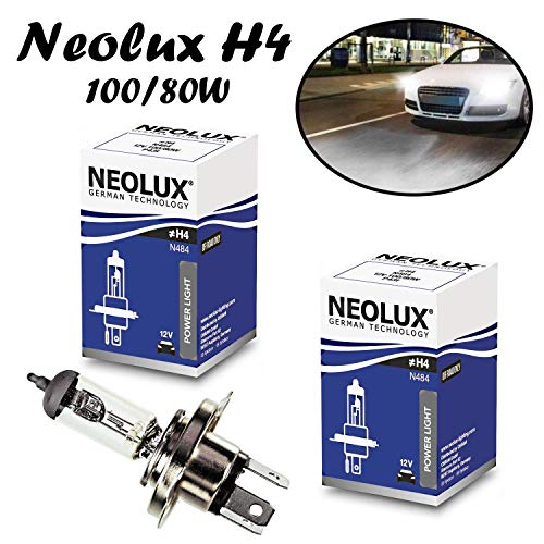 2x Neolux H4 100/80W 12V P43t N484 Original High Tech langlebig Weiß White Ersatz Scheinwerfer Halogen Auto Lampe - Off-Road
