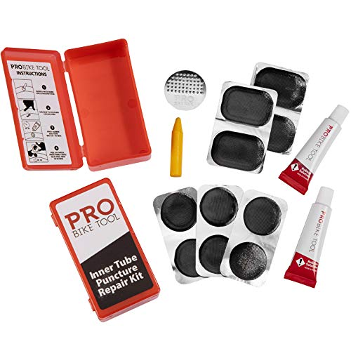 PRO BIKE TOOL 14 PC Bicycle Inner Tube Patch Kit - 2 Pack - Reliable Tire Puncture Repair Kits Includes Crayon, Scuffer, Rubber Cement & 20 Patches in Total - for Road, Mountain & BMX Bikes, ATV