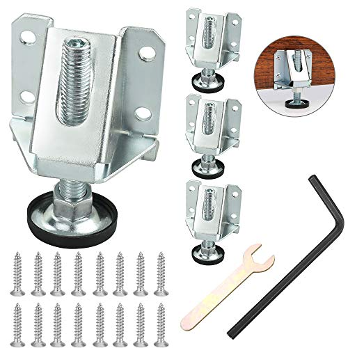 PERFETSELL 4 PCS Adjustable Feet Set Heavy Duty Furniture Leveling Feet Threaded Feet Anti-Shake Glide Pads Furniture Table Legs Floor Protector for Table Shelving Units Cabinet Workbench, M10 x 75mm