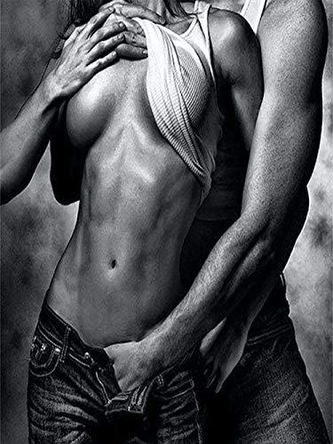 Ivansung DIY Ölgemälde Zeichnung mit Pinsel Farbe, Paint by Number Kit für Erwachsene Dekoration-Nackte sexy Frau Körperkunst 40X50Cm/15.80X 19.70 Inch