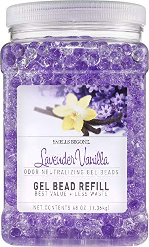 Smells Begone Odor Eliminator Gel Bead Refill - Eliminates Odor from Bathrooms, Boats, Cars, RVs and Pet Areas - Formulated with Natural Essential Oils (48 OZ) (Lavender Vanilla)