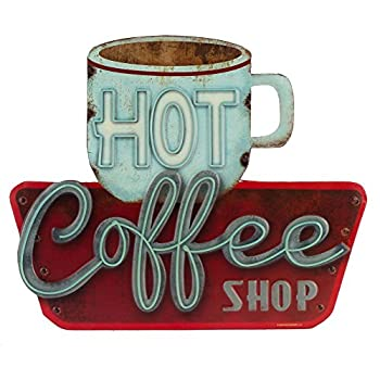 Open Road Brands Hot Coffee Shop Embossed Metal Sign
