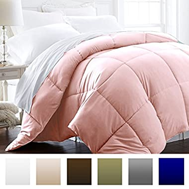 Beckham Hotel Collection 1600 Series - Lightweight - Luxury Goose Down Alternative Comforter - Hotel Quality Comforter and Hypoallergenic - Full/Queen - Pink