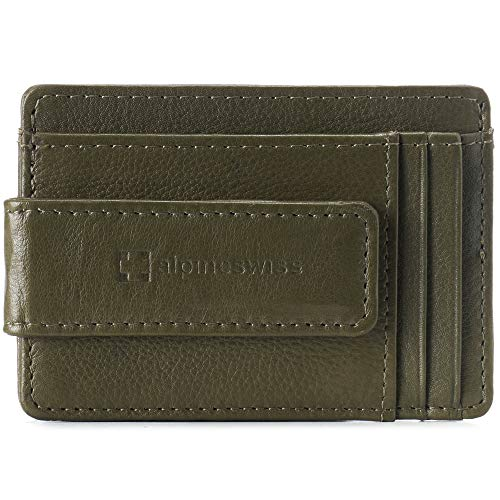 Alpine Swiss RFID Harper Money Clip Front Pocket Wallet For Men Leather York Collection Soft Nappa Olive