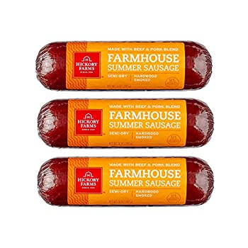 Hickory Farms Farmhouse Summer Sausage 3-Pack 10 ounces each   Great for Snacking Entertaining Charcuterie Ready to Eat High Protein Low Carb Keto Gluten Free Premium Beef and Pork