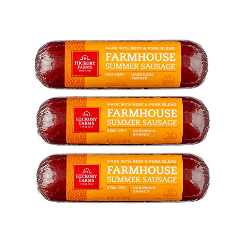 Hickory Farms Farmhouse Summer Sausage 3-Pack, 10 ounces each | Great for Snacking, Entertaining, Charcuterie, Ready to Eat, High Protein, Low Carb, Keto, Gluten Free, Premium Beef and Pork