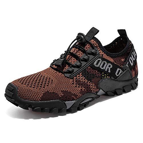 YING LAN Men Women Trail Running Shoes Barefoot Quick Drying Swim Beach Aqua Sneakers for Water Sport Diving Hiking Sailing Brown