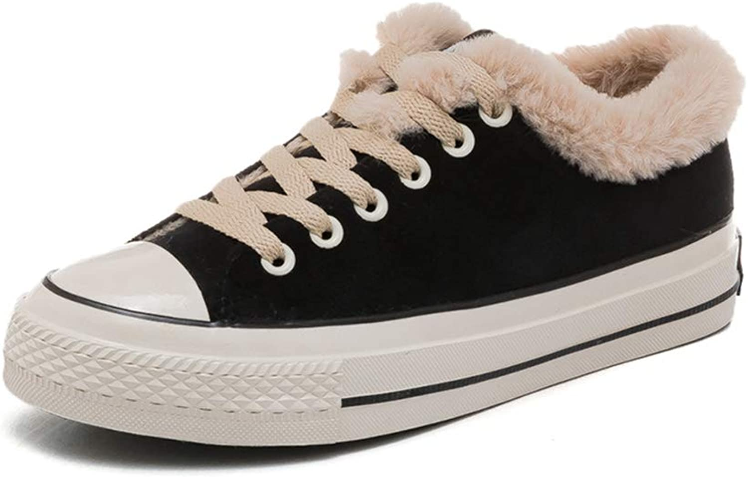 Womens Low Heel Flat Platform Fur Lined Ankle Boots Fashion Round Toe Rubber Sole Lace Up Slip On Winter Keep Warm Walking shoes