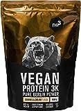 nu3 Protéines Vegan 3K 1kg - Cookies Cream - 70% de Protéines à base de 3 composants végétaux - Protéine végétale pour le fitness et le sport - Excellente alternative à la whey protein cookie cream