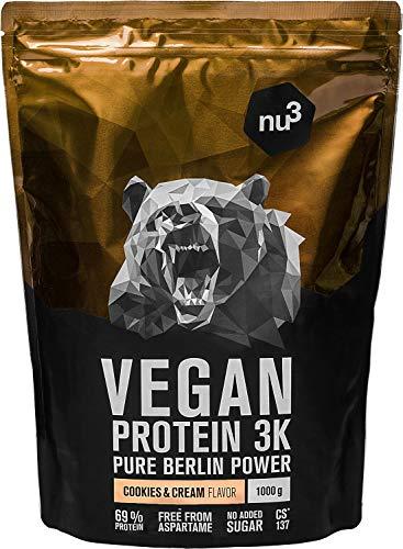nu3 Vegan Protein 3K Shake - 1 Kg Cookies & Cream Blend - veganes Eiweisspulver aus 3-Komponenten-Protein mit 69{bb1d04db8a25c227d7ad84816b55a77cd1a4aceabb4565edbab2305d5d0e8bd3} Eiweiss - Pulver zum Muskelaufbau mit Kekse Geschmack - Laktosefrei und zuckerfrei
