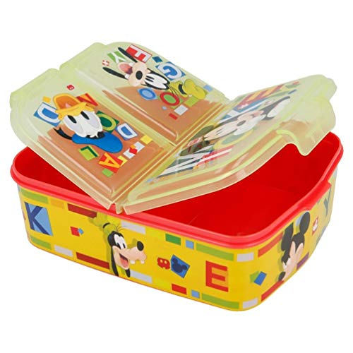 Mickey Mouse Kinder Premium Brotdose Lunchbox Frühstücks-Box Vesper-Dose mit 3 Fächern
