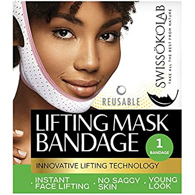 Face Slimming Strap That Can Be Seen Again V Line Mask with Double Chin Reducer V Up Contour Tightening Firming Face Lift Tape Neck Bandage V-Line Lifting Patches V Shaped Belt by SWISSKOLAB Chin Up Patch Chin Mask V Up Contour Tightening Firming Face Lif