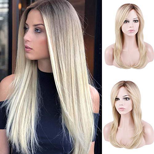 Queentas® Natuurlijke Rechte Ombre Blonde Pruik Bruin Wortels Hittebestendige Synthetische Vezel Haarstukken Volledige Pruik met Gratis Deel Haar Bang voor Vrouwen +1 Gratis Hairnet