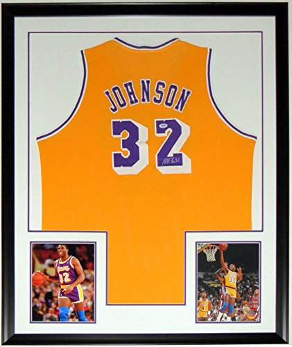 Magic Johnson Signed LA Lakers Jersey - Authenticated by PSA DNA COA - Custom Framed & 2 8x10 Photo - 34x42