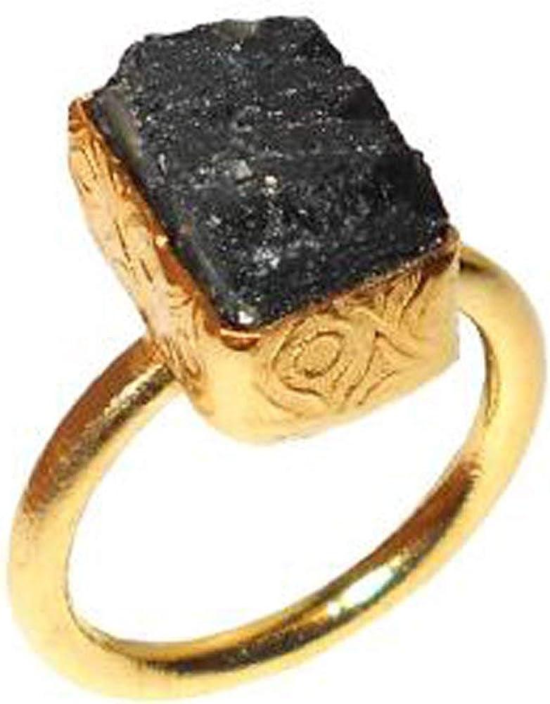 Handmade Black Tourmaline Stacking Ring