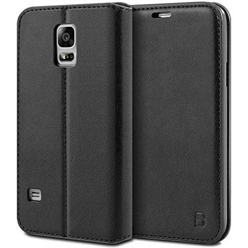 BEZ Hülle für Samsung Galaxy S5 Hülle, Handyhülle Kompatibel für Samsung Galaxy S5 / S5 NEO Tasche, aus Klappetui mit Kreditkartenhaltern, Ständer, Magnetverschluss - Schwarz