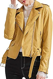 eff126de7 Amazon.com: Yellows - Leather & Faux Leather / Coats, Jackets ...