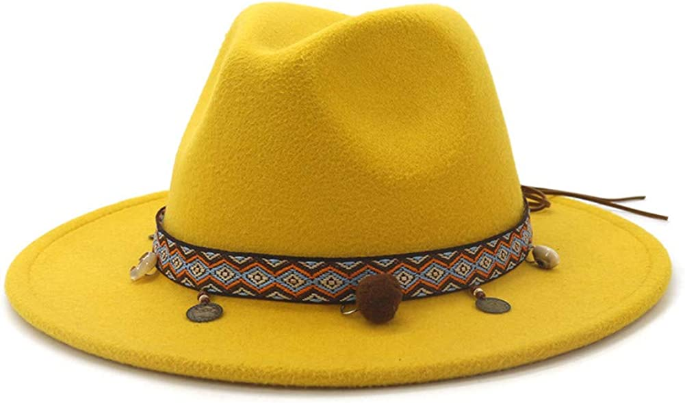 Gossifan Colorful Wide Brim Tassels Felt Fedora Panama Hat with Lace Belt