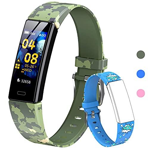 Rastreador de actividad para niños, rastreador de actividad con podómetros, monitor de ritmo cardíaco y sueño, cronómetro, IP68 impermeable, banda inteligente con 2 pulseras intercambiables (azul)