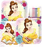 Lobyn Value Pack Beauty and The Beast Party Plates and Napkins Serves 16 with Birthday Candles