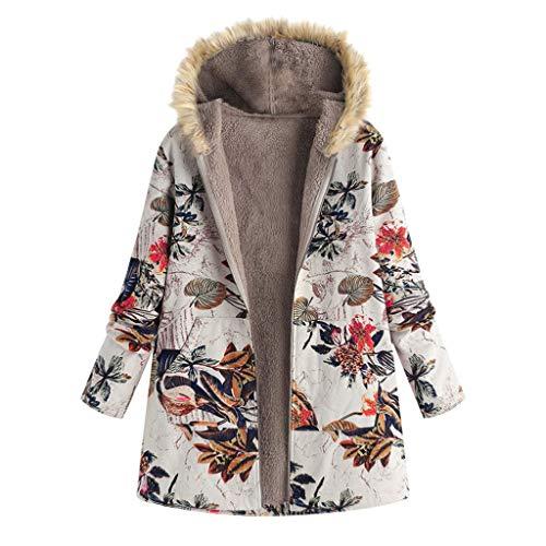 TOPKEAL Jacke Warme Mantel Damen Herbst Winter Sweatshirt Blumendruck mit Kapuze Kapuzenjacke Hoodie Taschen Pullover Übergroße Outwear Coats Mode Tops (Orange-3, XXL)