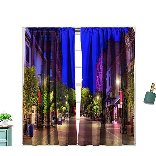 Hiiiman Fashion Design Curtain Drape Burlington Vermont USA Cityscape at Church Street Marketplace with Rod Pocket for Kids Room, W72 x L72
