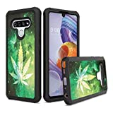 Moriko Case Compatible with Stylo 6 [Cute Drop Proof Shockproof Women Men Hybrid Heavy Duty Black Case Phone Cover] for LG Stylo 6 Spectrum and All Phone Carriers (Space Leaf Green)