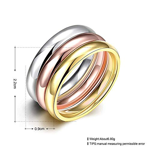 『Rockyu ジュエリー ブランド 3連リング レディース 指輪 チタン ダイヤ 金 18k ピンクゴールド シルバー』の1枚目の画像