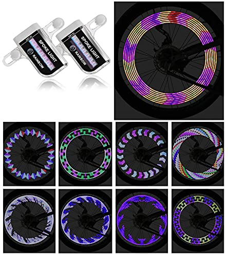 IGYLAR Rechargeable LED Bike Wheel Lights 2 Packs IPX5 Waterproof Bicycle Light with 14 LED Lights and 30 Patterns Easy to Install Suitable Gift for Kids,Adult and Family