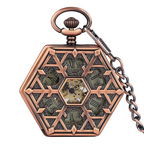 Delicados números romanos reloj de bolsillo con esfera de esqueleto para hombres, relojes de bolsillo mecánicos de cuerda manual duraderos para mujeres, exquisito reloj colgante de cadena áspera de or