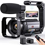 4K Video Camera Camcorder, Aepannay 48MP 60FPS WiFi Vlogging Camera with IR Night Vision Touch Screen, YouTube Digital Camera with 16X Digital Zoom, Microphone, 2.4G Remote Control, 2 Batteries