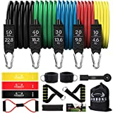 COOBONS Resistance Bands Set, Including 5 Stackable Exercise Bands with Door Anchor, Ankle Straps, Carrying Case & Guide Ebook - for Resistance Training, Physical Therapy, Home Workouts, Yoga