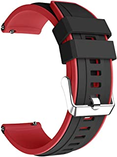Bi-Color Sport Silicone Bracelet, Replacement Band, Size (22MM) for Huawei Watch GT, GT2, GT2 Pro 46MM | Samsung Watch 3 4...