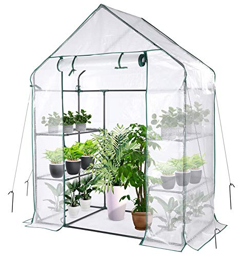 Mini Greenhouse, Walk in Greenhouse with PE Cover, 3 Tiers 4 Shelves Indoor and Outdoor Greenhouse...
