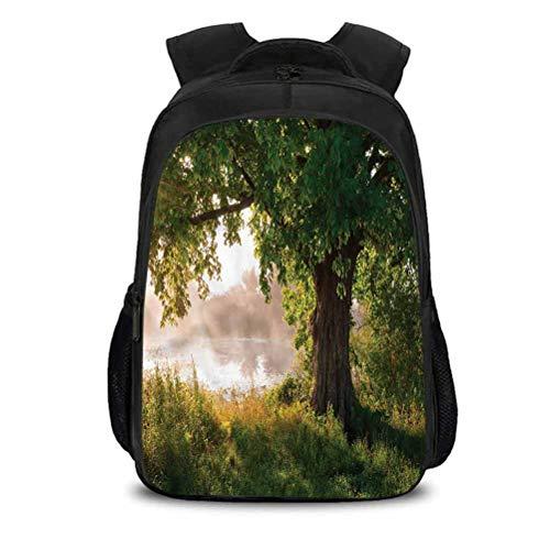 Mochila de viaje al aire última intervensión, Escena de niebla mística, bolsa escolar para uso diario y actividades al aire última intervensión 15.7x10.6x6.69 pulgadas