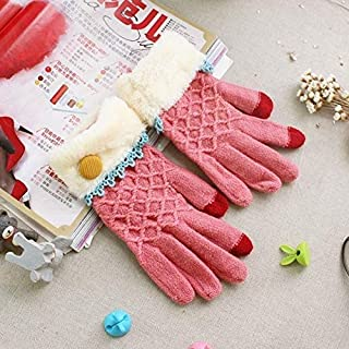 SGJFZD 2 Pack Full Touch Screen Finger Wool Gloves Thermal Gloves (Color : Pink)