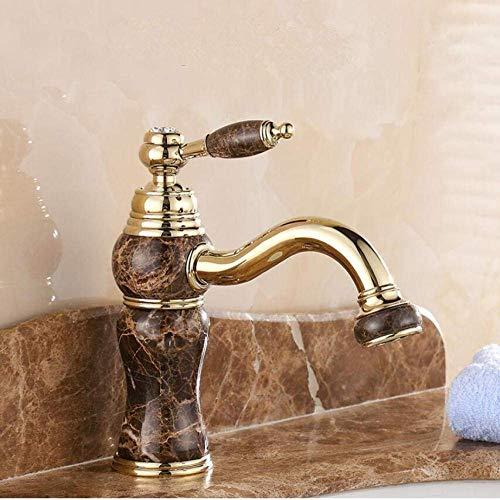 HLL Grifos, Rosa Frío/Dorado Baño de Baño Faucet Deck Instalación Agujero Simple Grifo Faucet Jade Plateado Natural Jade Basin Agitator Modelo 2
