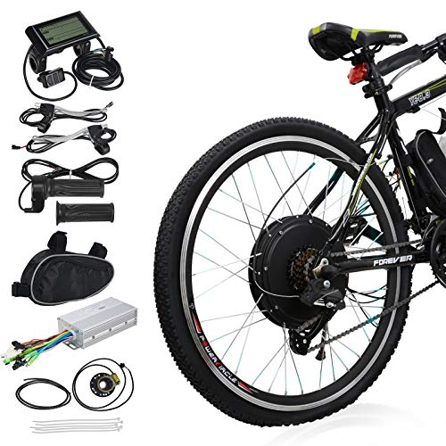 "Voilamart 26"" Rear Wheel Electric Bicycle Conversion Kit, 48V 1000W E-Bike Motor Kit with LCD Display, Intelligent Controller and PAS System, 750W Power Limited for Road Bike"