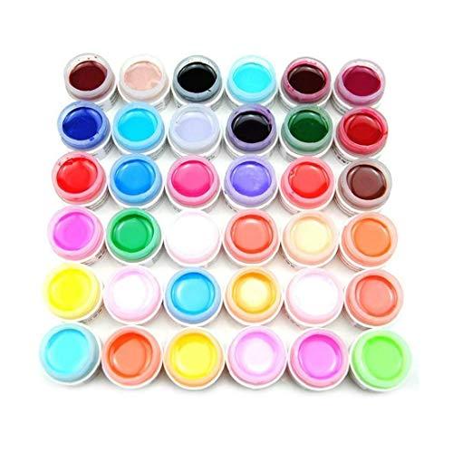 Lot de 36 pots de gel de construction UV acrylique pour les ongles - Multicolore