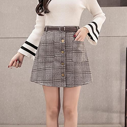 Falda Mujer Falda A Cuadros De Un Solo Pecho para Mujer, Faldas Informales Elegantes De Cintura Alta para...